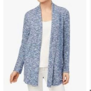 Marled Knit Draped Open Front Pocket duster